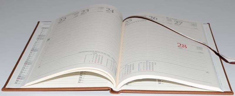Kalendár detail na vnútorné strany