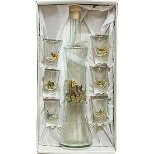 Fľaša s pohárikmi dekorovaná zvieratami